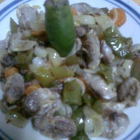 Пилешки воденички със зеленчуци на тиган