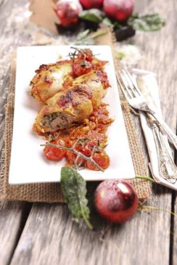 Пилешко руло със спанак и ориз