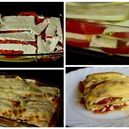 Редени тиквички с домати и сирене