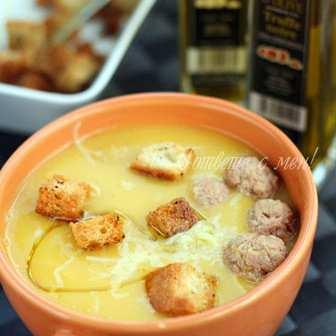 Тиквена крем супа с топчета